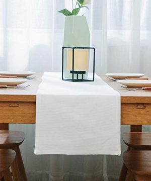 NATUS WEAVER Dinning Table Runner Cloth 12 X 60 Inches Farmhouse Kitchen Coffee Burlap Table Runner Cloth For Holiday Party Pure White 0 300x360