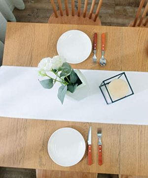 NATUS WEAVER Dinning Table Runner Cloth 12 X 60 Inches Farmhouse Kitchen Coffee Burlap Table Runner Cloth For Holiday Party Pure White 0 4 300x360