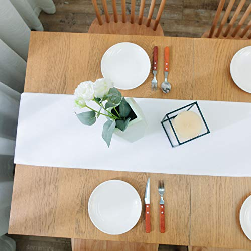 NATUS WEAVER Dinning Table Runner Cloth 12 X 60 Inches Farmhouse Kitchen Coffee Burlap Table Runner Cloth For Holiday Party Pure White 0 4
