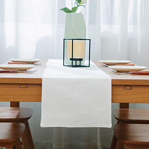 NATUS WEAVER Dinning Table Runner Cloth 12 X 60 Inches Farmhouse Kitchen Coffee Burlap Table Runner Cloth For Holiday Party Pure White 0