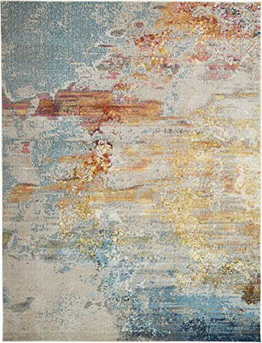 Nourison Celestial Modern Abstract Area Rug 9 X 12 Sealife Multicolor Grey 0 1