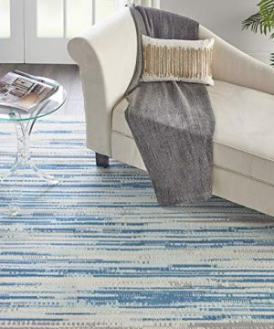 Nourison Jubilant JUB04 Teal Blue And White 9x12 Large Low Pile Rug 86 X 12 0 300x360