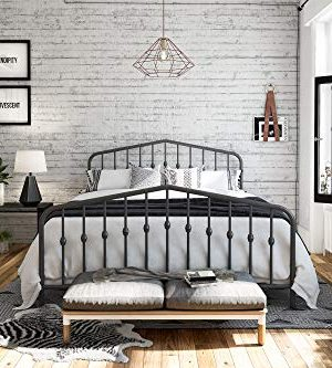 Novogratz Bushwick Metal Bed Queen Grey 0 300x333