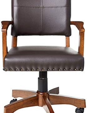 OSP Home Furnishings Deluxe Medium Brown Wood Bankers Chair With Bonded Leather And Antique Bronze Nailheads Espresso 0 0 279x360