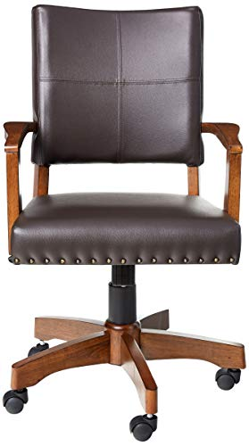 OSP Home Furnishings Deluxe Medium Brown Wood Bankers Chair With Bonded Leather And Antique Bronze Nailheads Espresso 0 0