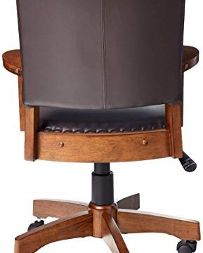 OSP Home Furnishings Deluxe Medium Brown Wood Bankers Chair With Bonded Leather And Antique Bronze Nailheads Espresso 0 1 289x360