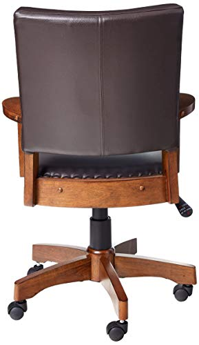 OSP Home Furnishings Deluxe Medium Brown Wood Bankers Chair With Bonded Leather And Antique Bronze Nailheads Espresso 0 1