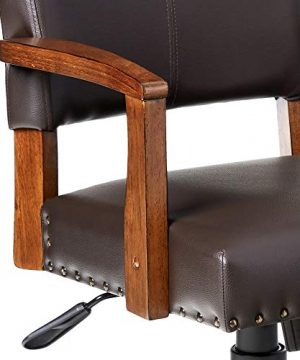 OSP Home Furnishings Deluxe Medium Brown Wood Bankers Chair With Bonded Leather And Antique Bronze Nailheads Espresso 0 2 300x360
