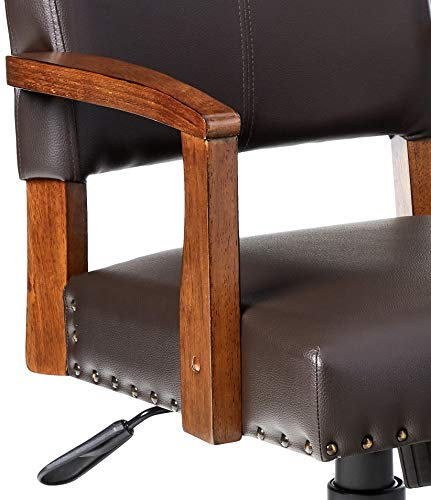 OSP Home Furnishings Deluxe Medium Brown Wood Bankers Chair With Bonded Leather And Antique Bronze Nailheads Espresso 0 2