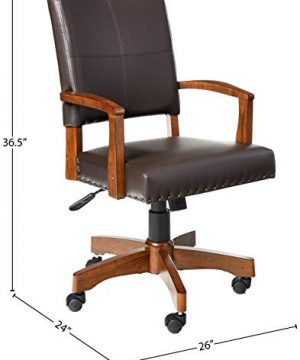 OSP Home Furnishings Deluxe Medium Brown Wood Bankers Chair With Bonded Leather And Antique Bronze Nailheads Espresso 0 3 300x360