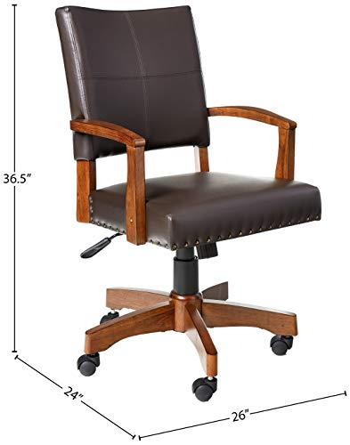 OSP Home Furnishings Deluxe Medium Brown Wood Bankers Chair With Bonded Leather And Antique Bronze Nailheads Espresso 0 3