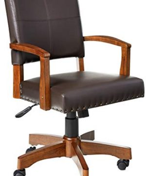 OSP Home Furnishings Deluxe Medium Brown Wood Bankers Chair With Bonded Leather And Antique Bronze Nailheads Espresso 0 300x360