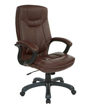 Office Star Bonded Leather Seat And High Back Executives Chair With Padded Arms And Contrast Stitching Chocolate 0 300x360