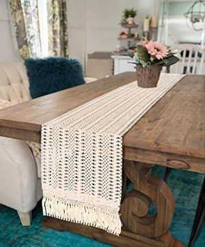 OurWarm Natural Macrame Table Runner Cotton Crochet Lace Boho Wedding Table Runner With Tassels For Bohemian Rustic Wedding Bridal Shower Home Dining Table Decor 12 X 108 Inch 0 1 300x360