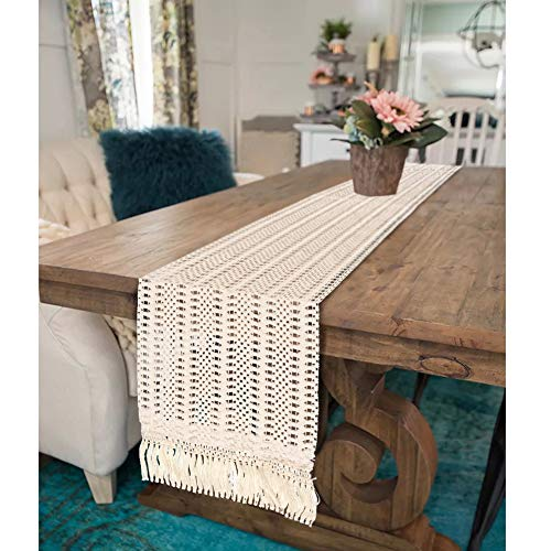 OurWarm Natural Macrame Table Runner Cotton Crochet Lace Boho Wedding Table Runner With Tassels For Bohemian Rustic Wedding Bridal Shower Home Dining Table Decor 12 X 108 Inch 0 1