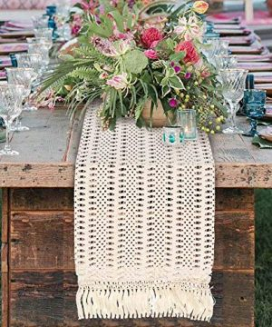 OurWarm Natural Macrame Table Runner Cotton Crochet Lace Boho Wedding Table Runner With Tassels For Bohemian Rustic Wedding Bridal Shower Home Dining Table Decor 12 X 108 Inch 0 2 300x360