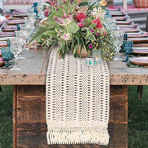 OurWarm Natural Macrame Table Runner Cotton Crochet Lace Boho Wedding Table Runner With Tassels For Bohemian Rustic Wedding Bridal Shower Home Dining Table Decor 12 X 108 Inch 0 2