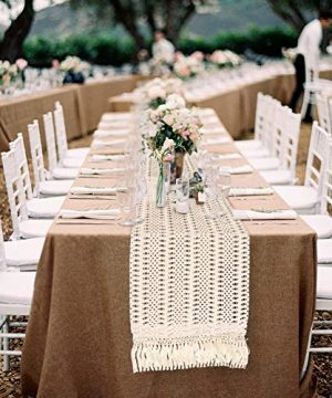 OurWarm Natural Macrame Table Runner Cotton Crochet Lace Boho Wedding Table Runner With Tassels For Bohemian Rustic Wedding Bridal Shower Home Dining Table Decor 12 X 108 Inch 0 3 300x360