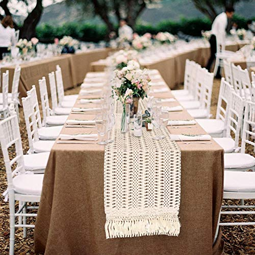 OurWarm Natural Macrame Table Runner Cotton Crochet Lace Boho Wedding Table Runner With Tassels For Bohemian Rustic Wedding Bridal Shower Home Dining Table Decor 12 X 108 Inch 0 3