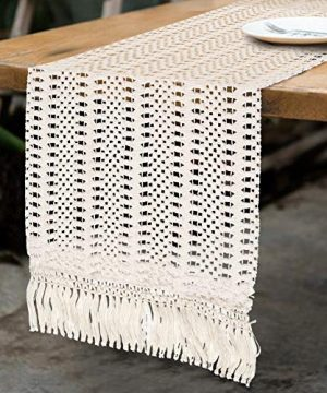OurWarm Natural Macrame Table Runner Cotton Crochet Lace Boho Wedding Table Runner With Tassels For Bohemian Rustic Wedding Bridal Shower Home Dining Table Decor 12 X 108 Inch 0 300x360