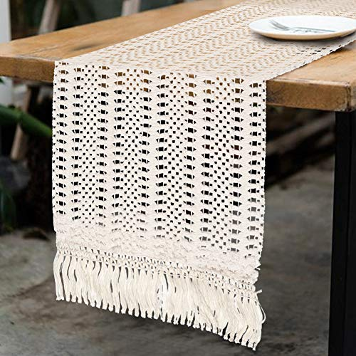 OurWarm Natural Macrame Table Runner Cotton Crochet Lace Boho Wedding Table Runner With Tassels For Bohemian Rustic Wedding Bridal Shower Home Dining Table Decor 12 X 108 Inch 0