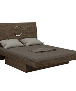 Overstock Contemporary Grey Tone Wood Platform Bed Queen 0 300x360