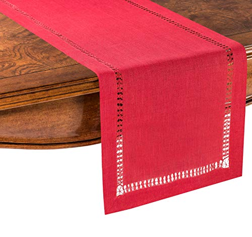 PROVIMO HOME Hemstitched Table Runners 14 X 120 Inch Red 0 0