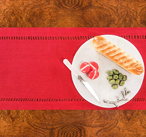 PROVIMO HOME Hemstitched Table Runners 14 X 120 Inch Red 0 2