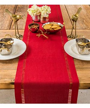 PROVIMO HOME Hemstitched Table Runners 14 X 120 Inch Red 0 300x360