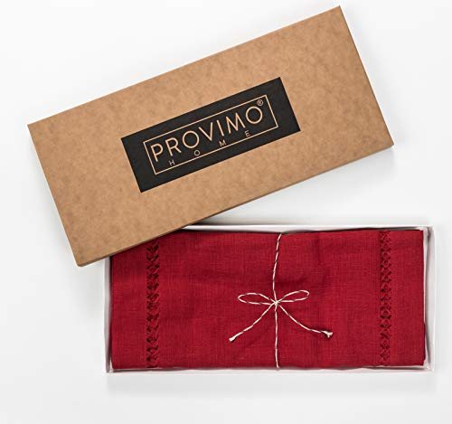 PROVIMO HOME Hemstitched Table Runners 14 X 120 Inch Red 0 4