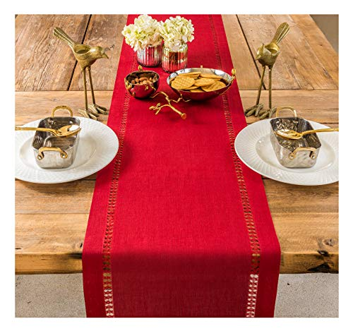 PROVIMO HOME Hemstitched Table Runners 14 X 120 Inch Red 0