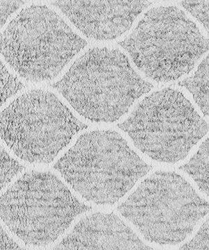 Paris Shag Hand Woven Microfiber Cotton Shaggy Rug 9 X 12 Silver Trellis Modern Contemporary Rectangle Latex Free Handmade 0 0 300x360