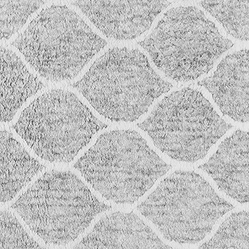 Paris Shag Hand Woven Microfiber Cotton Shaggy Rug 9 X 12 Silver Trellis Modern Contemporary Rectangle Latex Free Handmade 0 0