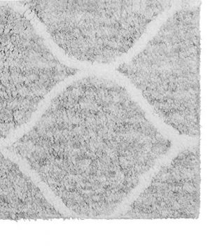 Paris Shag Hand Woven Microfiber Cotton Shaggy Rug 9 X 12 Silver Trellis Modern Contemporary Rectangle Latex Free Handmade 0 1 300x360