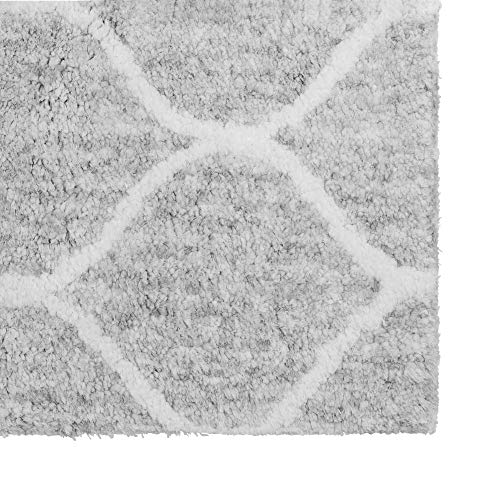 Paris Shag Hand Woven Microfiber Cotton Shaggy Rug 9 X 12 Silver Trellis Modern Contemporary Rectangle Latex Free Handmade 0 1