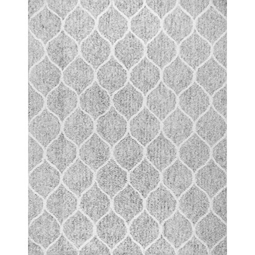 Paris Shag Hand Woven Microfiber Cotton Shaggy Rug 9 X 12 Silver Trellis Modern Contemporary Rectangle Latex Free Handmade 0