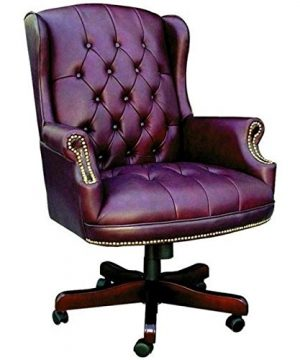Pemberly Row Faux Leather Upholstered Office Chair In Oxblood 0 300x360