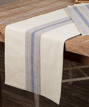 Piper Classics Doylestown Blue Table Runner With Appliqued Grain Sack Stripe 13 X 72 Long Blue Cream Rustic Farmhouse Table Runner Vintage Cottage Country Kitchen Dcor 0 300x360