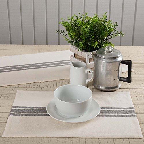 Piper Classics Market Place Gray Grain Sack Stripe Table Runner 13 X 36 Farmhouse Style Grey Cream 0 2