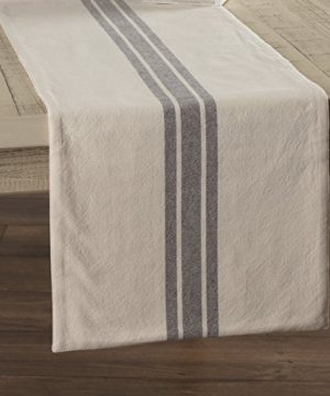 Piper Classics Market Place Gray Grain Sack Stripe Table Runner 13 X 36 Farmhouse Style Grey Cream 0 300x360