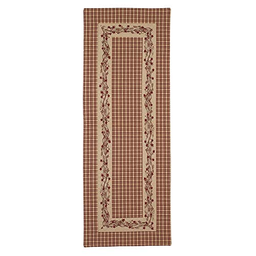 Red Farmhouse Berry Border 13 X 36 Cotton Embroidered Applique Table Runner 0