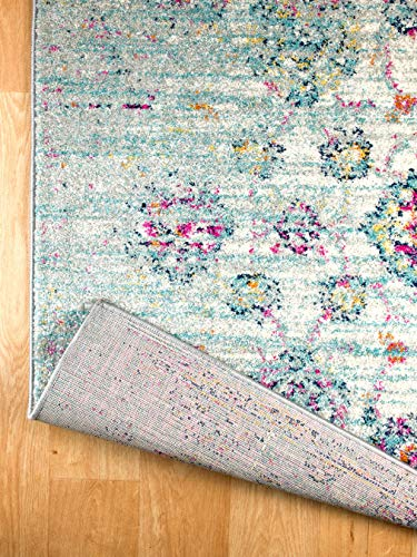 Rugs And Decor Casba Collection Style 507 Area Rug Ivory Multi Colored Farmhouse Distressed Bohemian Chic Large 9x12 0 1