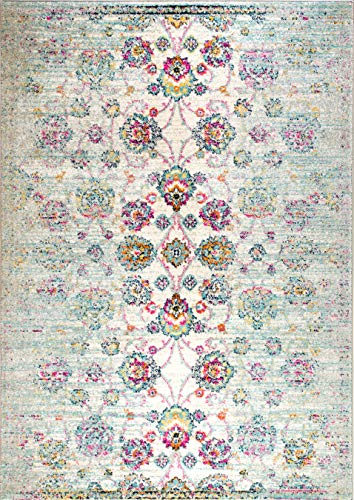 Rugs And Decor Casba Collection Style 507 Area Rug Ivory Multi Colored Farmhouse Distressed Bohemian Chic Large 9x12 0