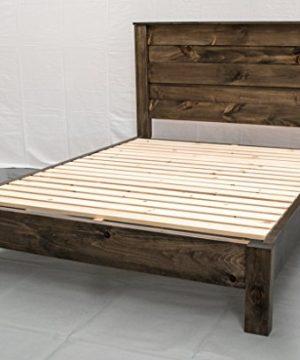 Rustic Farmhouse Platform Bed W Headboard QueenTraditional Platform FrameWood Platform Reclaimed BedModernUrbanCottage Platform Bed 0 300x360