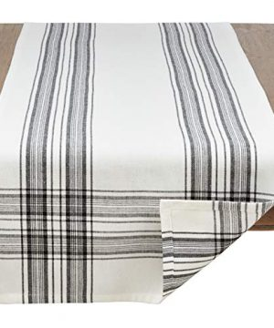 SARO LIFESTYLE Barry Collection Plaid Pattern Cotton Table Runner 16 X 72 Black 0 0 300x360