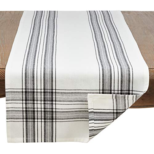 SARO LIFESTYLE Barry Collection Plaid Pattern Cotton Table Runner 16 X 72 Black 0 0
