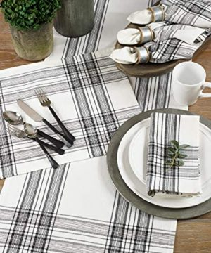 SARO LIFESTYLE Barry Collection Plaid Pattern Cotton Table Runner 16 X 72 Black 0 1 300x360