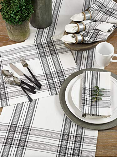 SARO LIFESTYLE Barry Collection Plaid Pattern Cotton Table Runner 16 X 72 Black 0 1