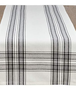 SARO LIFESTYLE Barry Collection Plaid Pattern Cotton Table Runner 16 X 72 Black 0 300x360