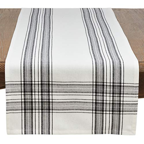 SARO LIFESTYLE Barry Collection Plaid Pattern Cotton Table Runner 16 X 72 Black 0